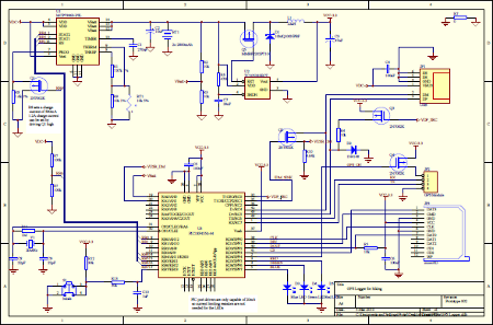 GPS Logger Schematic implementing battery charging and USB Charger Port Detection